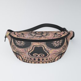 Rubino Vintage Retro Skull Drawing Flower Floral Tattoo Colorful Fanny Pack