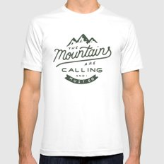 The Mountains Are Calling Mens Fitted Tee White LARGE
