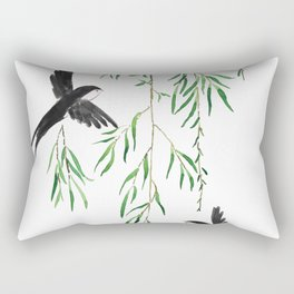 green willow leaf and swallow watercolor Rectangular Pillow