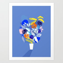 Keep Growing - Tropical plant on Blue Art Print