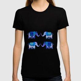 HAPPY ELEPHANTS - WATERCOLOR BLUE PALETTE T-shirt