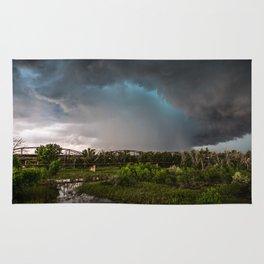 The Bridge - Intense Storm Over River Landscape in Texas Rug