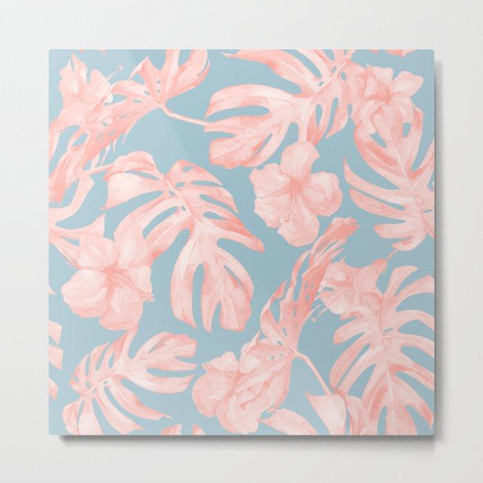 Island Life Millennial Pink on Pale Teal Blue Metal Print