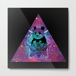 Black Panda in watercolor space background Metal Print