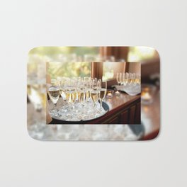 Wedding banquet champagne glasses Bath Mat