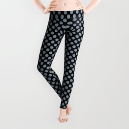 Black and Dusty Blue Polka Dots Leggings