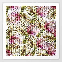 Tropical pink purple sunshine yellow palm tree stripes Art Print