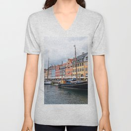 Nyhavn waterfront in Copenhagen Unisex V-Neck