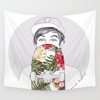 coconutwishes Wall Tapestries featuring L Skate by Coconut Wishes