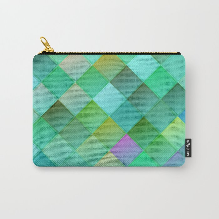 Green pattern with squares.Trendy print. Modern graphic design. Carry-All Pouch