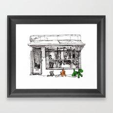 The Barber on Camden Passage Framed Art Print