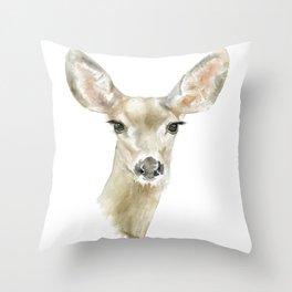 Doe Deer Watercolor Painting Fine Art Throw Pillow