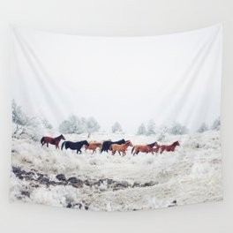 Winter Horse Herd Wall Tapestry