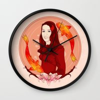 pisces Wall Clocks featuring Pisces by Vanesa Abati