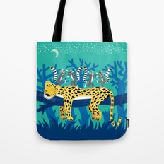 The Leopard and The Lemurs Tote Bag