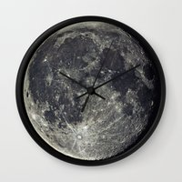 the moon Wall Clocks featuring Moon by Pete Baker
