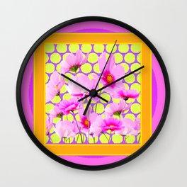 MODERN PINK COSMOS GARDEN ART Wall Clock
