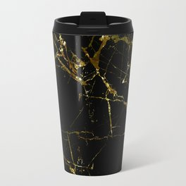 Golden Marble - Black and gold marble pattern, textured design Travel Mug
