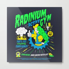 Radinium Gym - Fitness - Gym - Funny - Illustration - Nuclear Metal Print