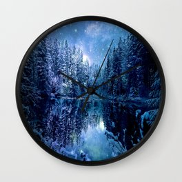 A Cold Winter's Night : Turquoise Teal Blue Winter Wonderland Wall Clock
