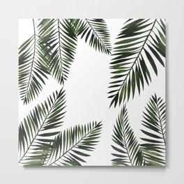 Watercolor tropical palm leaves Metal Print