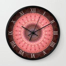Mandala in brown and pink tones Wall Clock