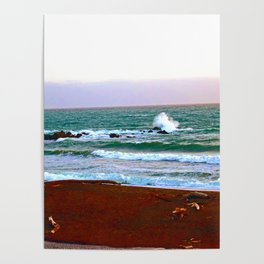"""""""Moonstone Beach #1"""" with poem: Our Beach Poster"""