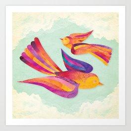 Shanti Sparrow: Daisy and Dawn the Sparrows Art Print