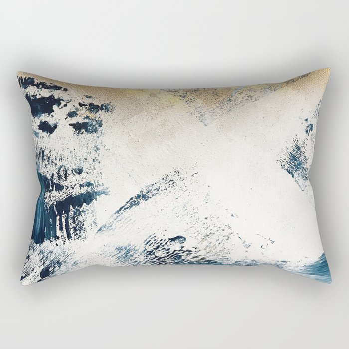 Sunset [1]: a bright, colorful abstract piece in blue, gold, and white by Alyssa Hamilton Art Rectangular Pillow