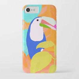 tropical toucan, orange iPhone Case