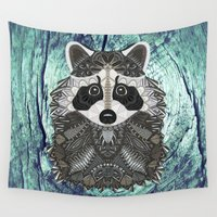 ornate Wall Tapestries featuring Ornate Raccoon by ArtLovePassion