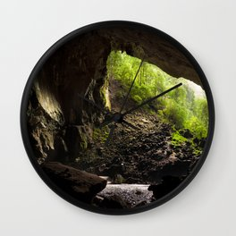 View from inside deer cave in gunung mulu national park looking outside Wall Clock