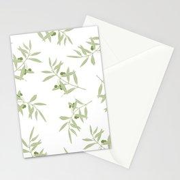 olive branch pattern design - white Stationery Cards