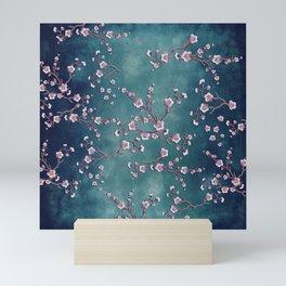 SAKURA LOVE  GRUNGE TEAL Mini Art Print