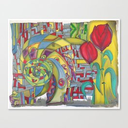 abstract red flower Canvas Print