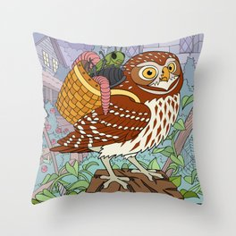 Little Owl with Packed Basket Throw Pillow