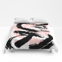 Black Brush strokes Comforters