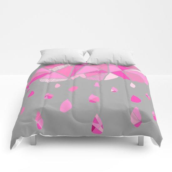 Fractured Pink Cloud Comforters