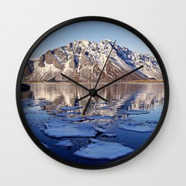 Cold reflection of mountains Wall Clock
