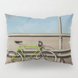 Green Bike on a Bridge Pillow Sham