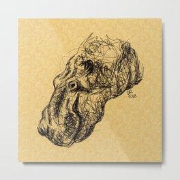 Herbert Hippopotamus Metal Print
