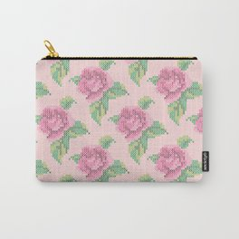 Cross Stitch Rose Pattern in pink Carry-All Pouch
