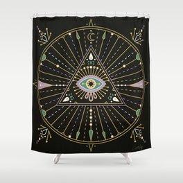 Evil Eye Mandala – Black Shower Curtain