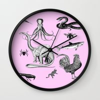 thrones Wall Clocks featuring Into the wild by Laura Nadeszhda