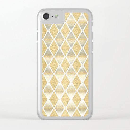 White and Gold Geometric Pattern Clear iPhone Case