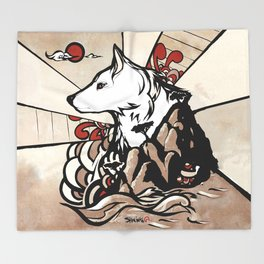Wolf Ukiyo-e Throw Blanket