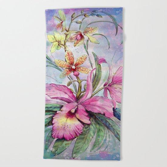 Orchids 06 Beach Towel