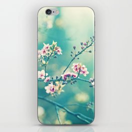 Turquoise Teal Pink Floral Photography, Aqua Flower Nature Art iPhone Skin