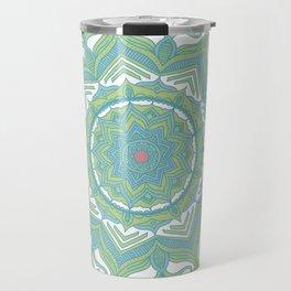 Blue and Green Flower Mandala II Travel Mug
