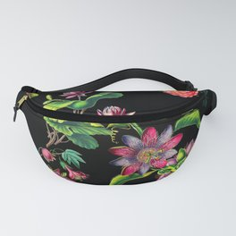 Vintage Bright Color Flowers Fanny Pack